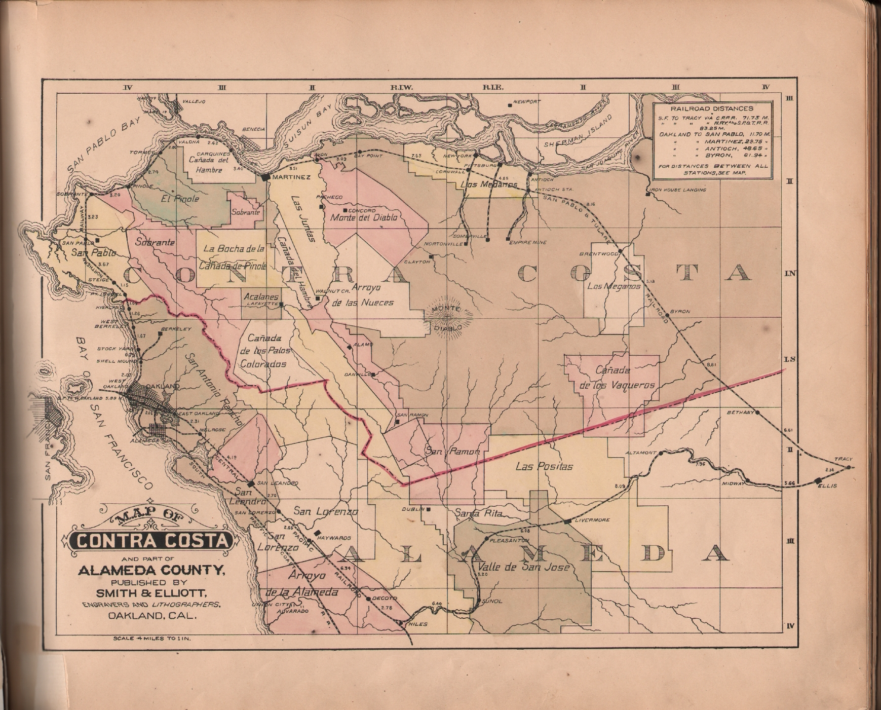 Illustrations Of Contra Costa Co County California With - Map of contra costa county ca