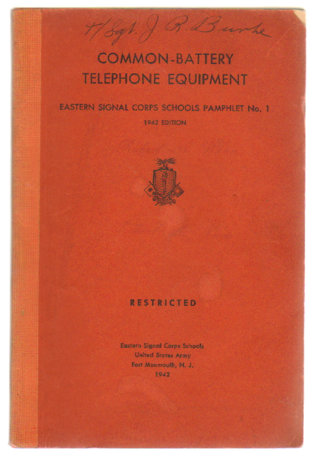 Common-Battery Telephone Equipment (Signal Corps School Pamphlet No. 1)