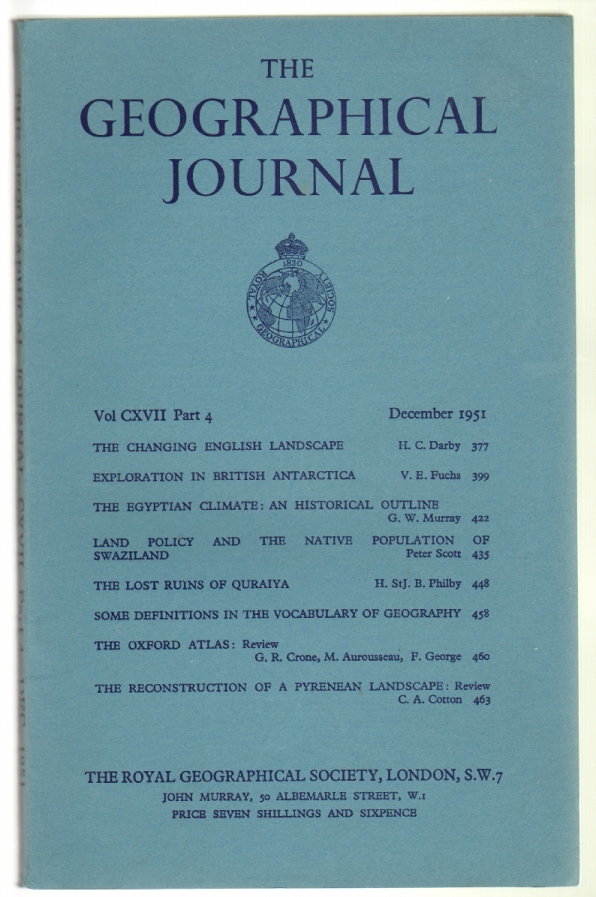 The Geographical Journal Volume CXVII, Part 4, December 1951. Royal Geographical Society.