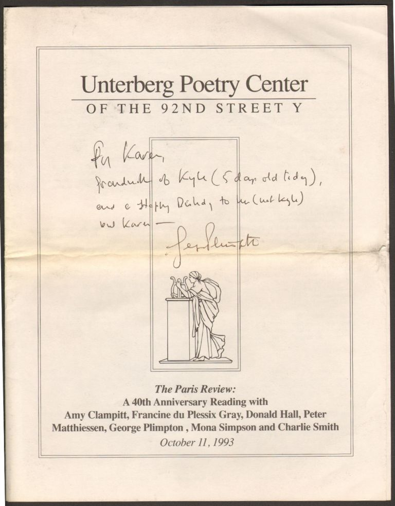 Unterberg Poetry Center of the 92nd Street Y Program, Paris Review Anniversary Reading [Signed by George Plimpton]. George Plimpton.