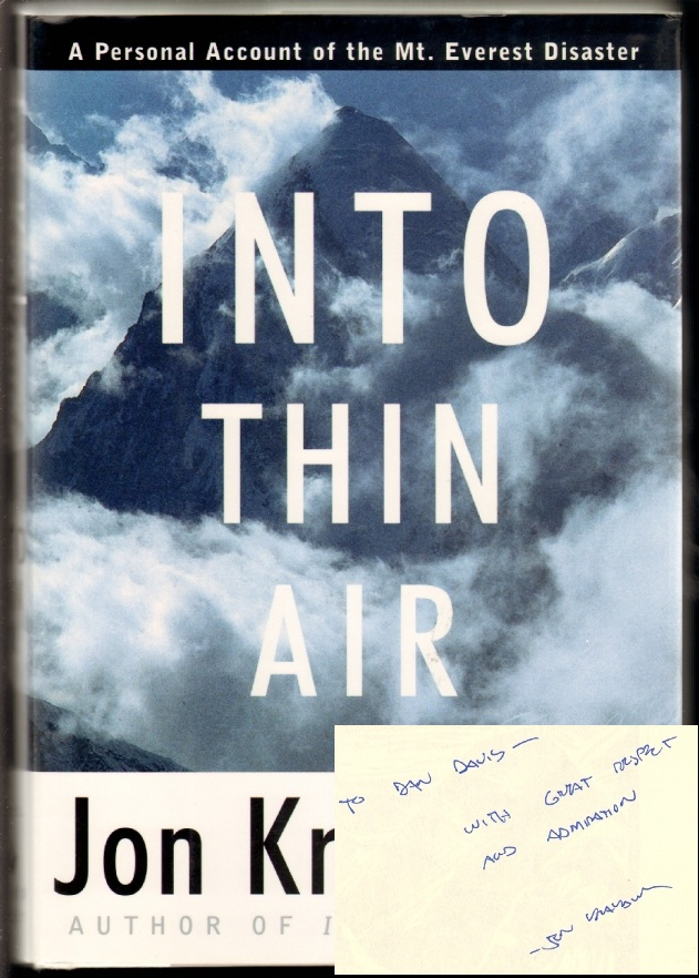Into Thin Air, A Personal Account of the Mount Everest Disaster [SIGNED, WITH MOUNTAIN MADNESS MATERIALS LAID IN]. Jon Krakauer.