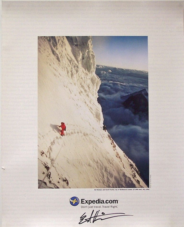Signed Poster of Ed Viesturs and Scott Fischer on K2. Charlie Mace, Photographer.