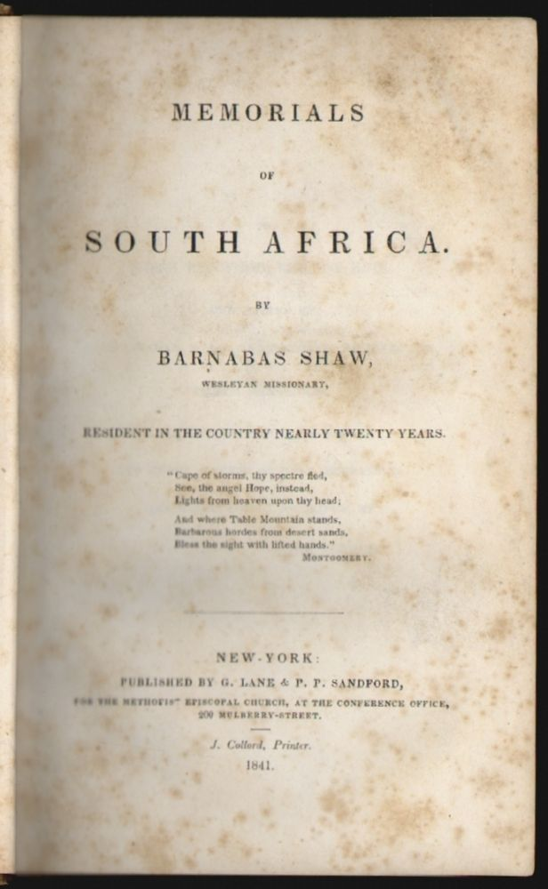 Memorials of South Africa. Barnabas Shaw.
