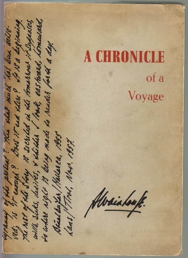 A Chronicle of a Voyage [with Prospectus]. Austryn Wainhouse.