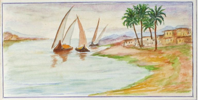 Sketches on the Nile: An Album of 43 Original Watercolors and Doggerel Verse Documenting a Nile Cruise in 1938. EGYPT, Alan Hinch.