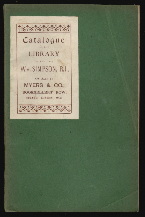 Catalogue of the Library of the Late Wm. [William] Simpson, R.I.