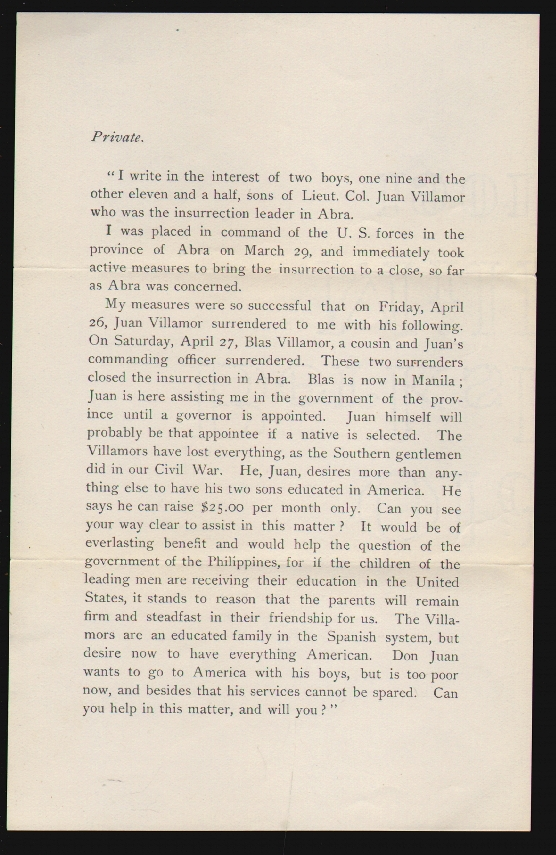Circular Soliciting Funds to Send a Guerilla Leader's Sons to School in the United States. PHILIPPINE-AMERICAN WAR.