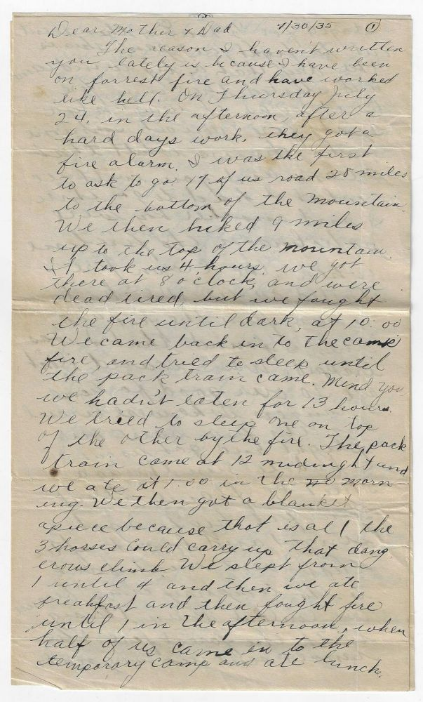Letter from A Young Man Fighting a Forest Fire at a Wyoming CCC Camp, 1935. CIVILIAN CONSERVATION CORPS, FIRE FIGHTING, WYOMING.