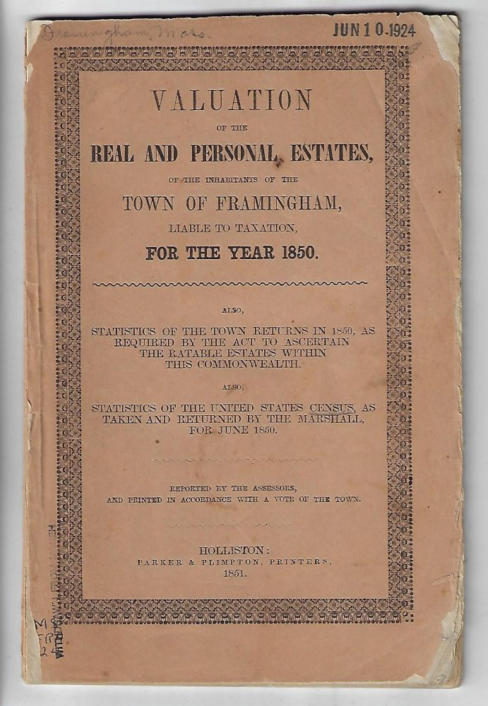 Valuation of the Real and Personal Estates of the Inhabitants of the Town of Framingham Liable to Taxation for the Year 1850...