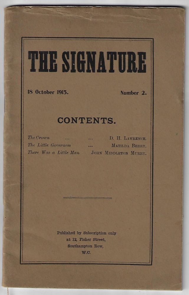 The Signature, 18 October 1915, Number 2. D. H. Lawrence, Matilda Berry, John Middleton Murry, Katherine Mansfield.
