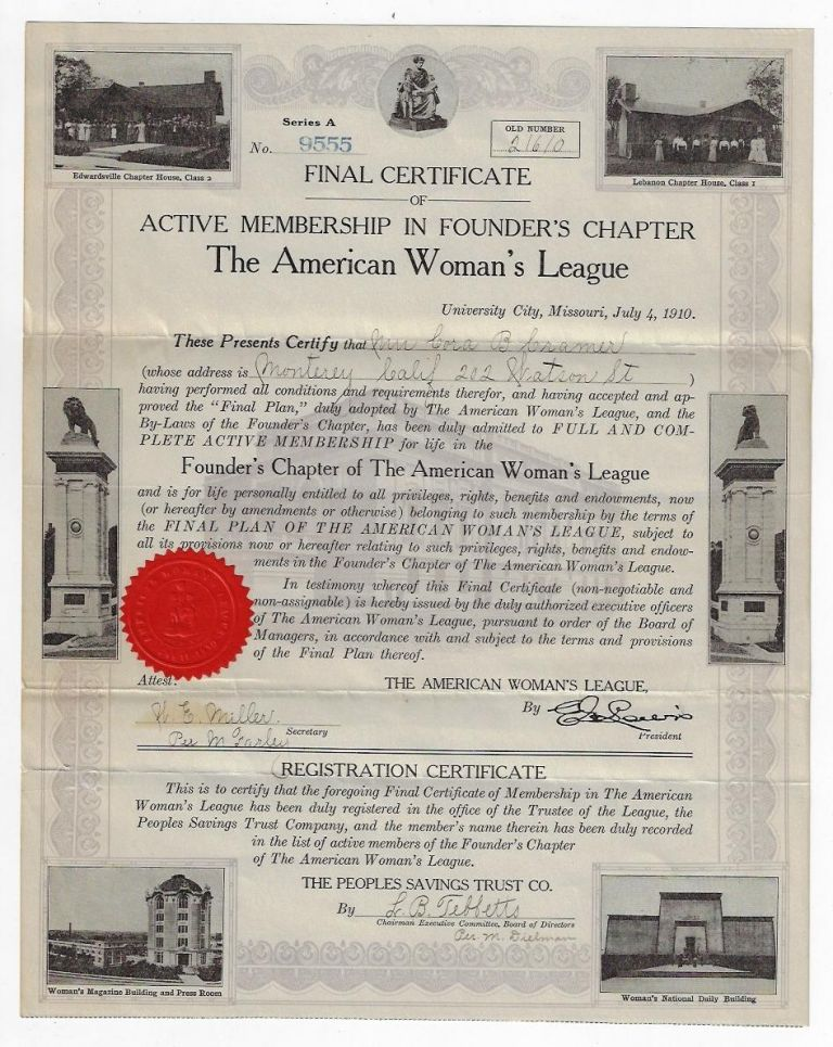 Final Certificate of Active Membership in Founder's Chapter, The American Woman's League. WOMEN, American Woman's League.