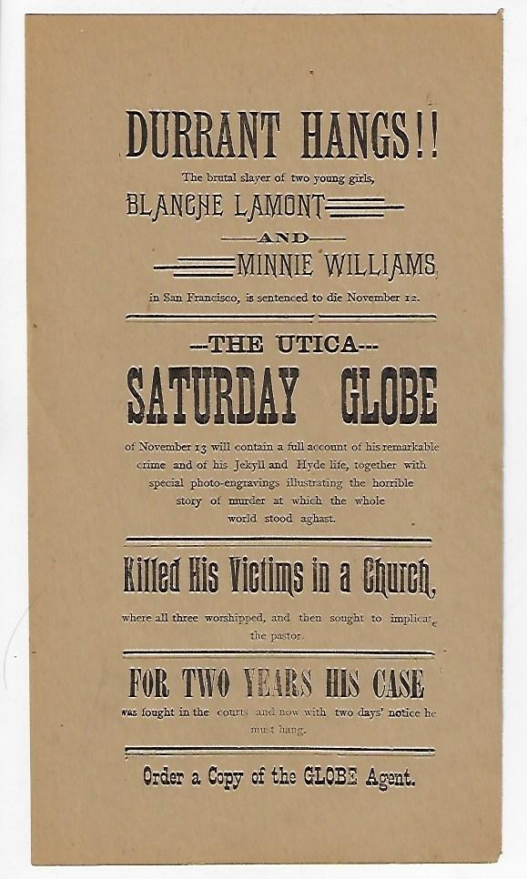 Durrant Hangs!! The Brutal Slayer of Two Young Girls, Blanche Lamont and Minnie Williams in San Francisco is Sentenced to Die November 12