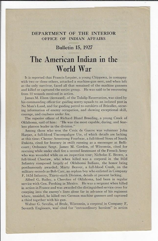 The American Indian in the World War. NATIVE AMERICANS WORLD WAR I, PATERNALISM.