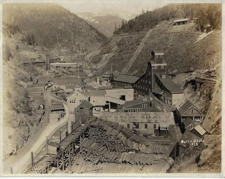 Photographs of the Mining Town of Burke, Idaho, Before and After a Devastating Fire in 1923. MINING IDAHO.