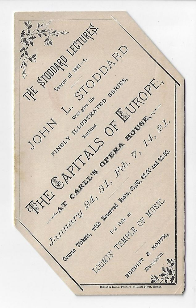 The Stoddard Lectures, Season of 1883-4 [Promotional Circular]. JOHN STODDARD.