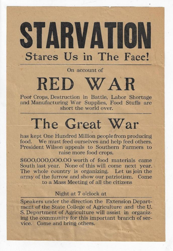 Starvation Stares Us in the Face on Account of the Red War. WORLD WAR I., AGRICULTURE.
