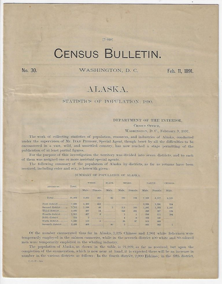 Alaska, Statistics of Population, Census Bulletin No. 30, February 11, 1891. Robert F. Porter.