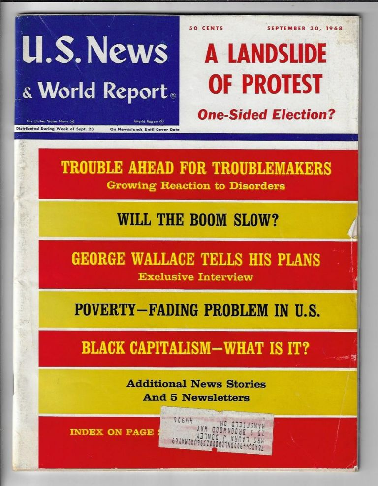 U.S. News and World Report, September 30, 1968 {Including articles on the upcoming election, George Wallace, the Supreme Court, Black Capitalism, and more)
