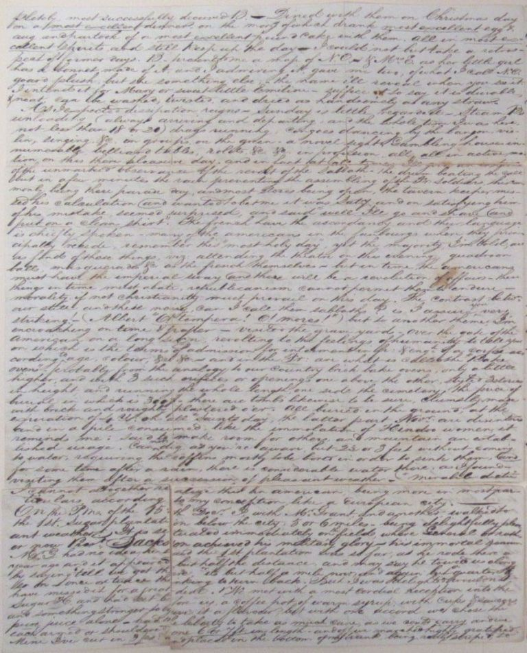 Lengthy Manuscript Letter Describing a Young Man's Visit to New Orleans, Including his Journey from Natchez via the Mississippi and then Onward to Savannah by Sea, 1829. NEW ORLEANS.