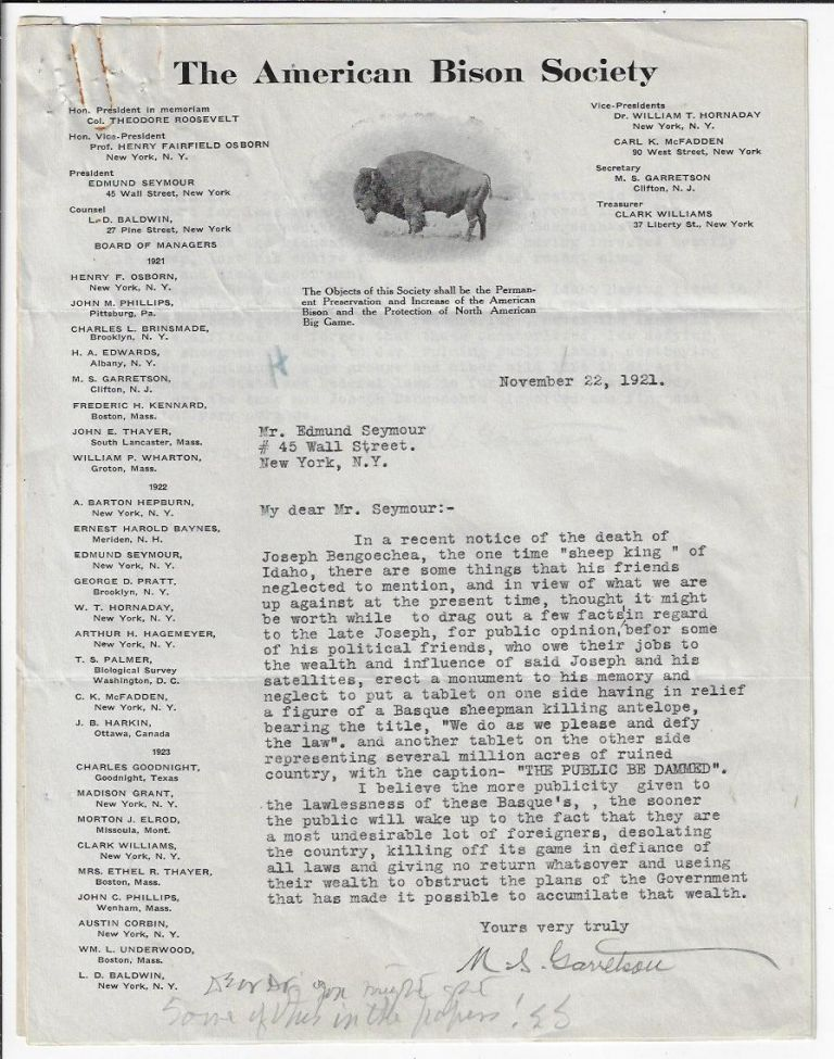 Signed Letter and Position Statement from the Secretary of the American Bison Society on the Destruction of Wildlife Habitat in the West. WILDLIFE CONSERVATION, Martin S. Garretson.
