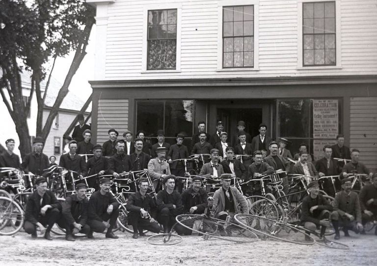 Collection of Glass Plate Negatives of Cyclists and Racing in Oxford County, Maine at the Height of the American Bicycle Craze. MAINE CYCLING.