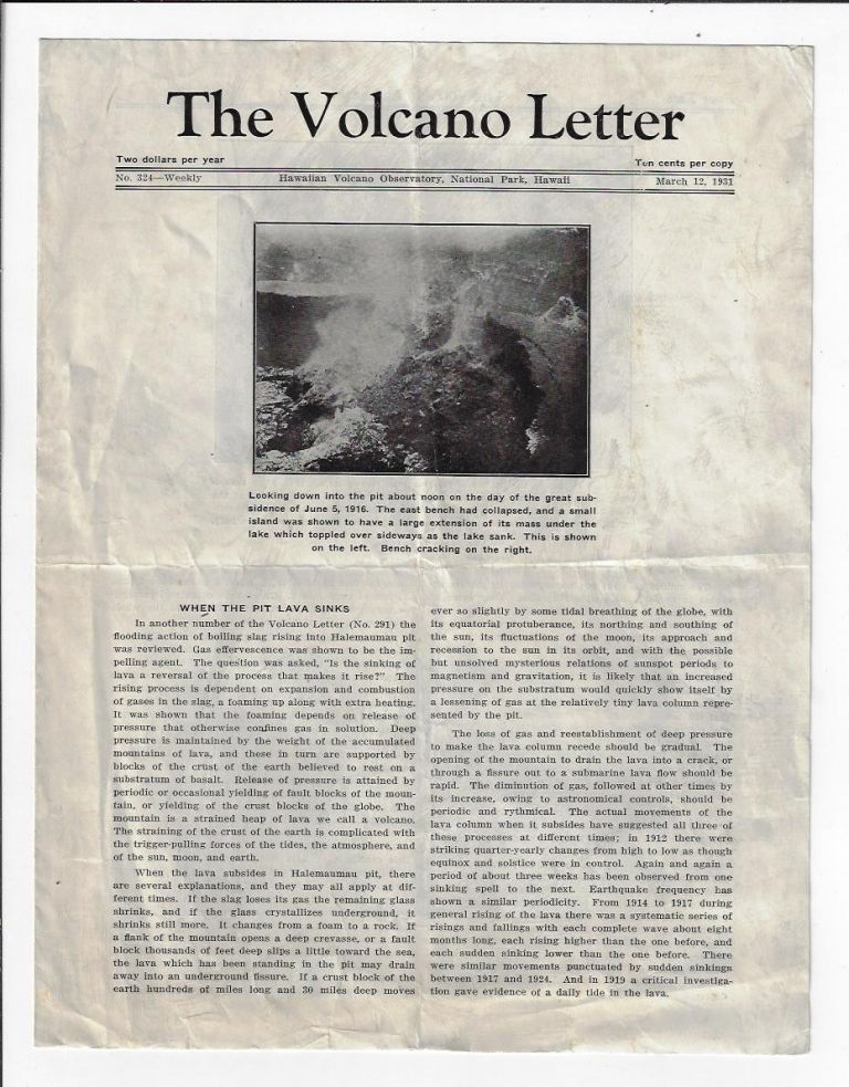 The Volcano Letter, No. 324, March 12, 1931