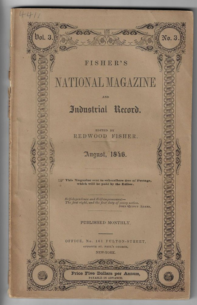 Fisher's National Magazine and Industrial Record, Vol. 3, No. 3, August 1846. Redwood Fisher.