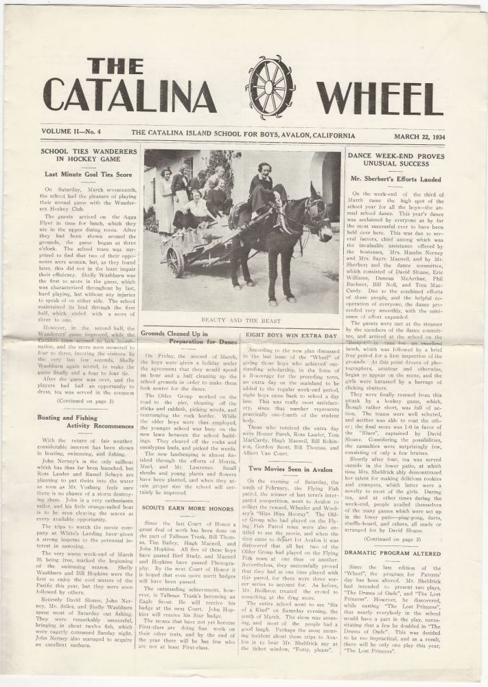 Four Issues of The Catalina Wheel, 1933-1935. CATALINA ISLAND SCHOOL FOR BOYS.