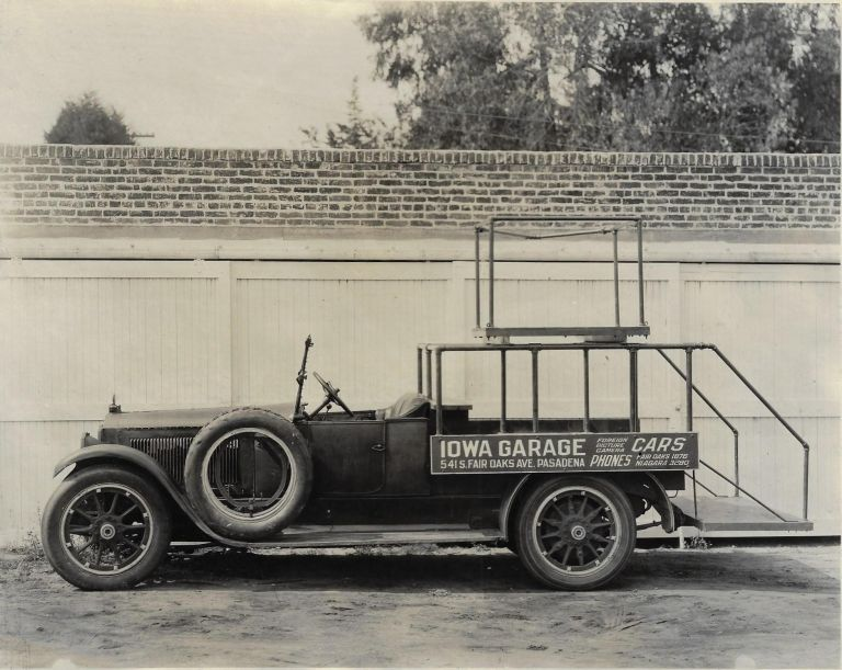 Collection of Photographs of Cars, Trucks, and Specialty Vehicles from Pasadena Rental Car Company that Catered to the Movie Industry in the 1920s. FILM INDUSTRY MOTOR VEHICLES.