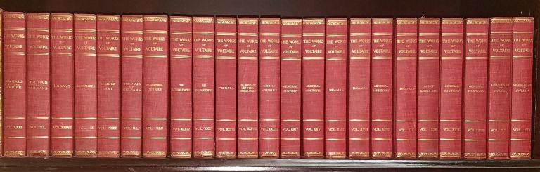 The Works of Voltaire, A Contemporary Version [Complete in 42 Volumes] with Voltaire, Index to his Works, Genius and Character, with An Appreciation by Oliver H.G. Leigh. Voltaire, Tobias Smollet, William Fleming, Oliver Leigh, John Morley, notes, introduction, biography.