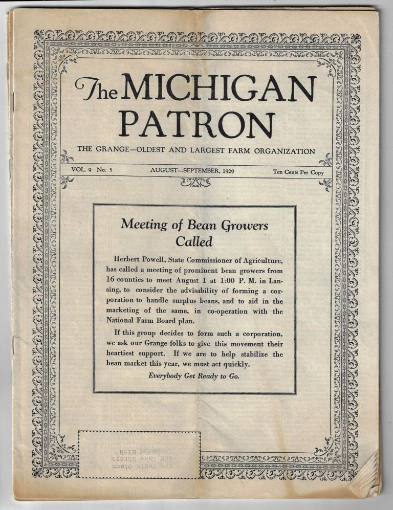 The Michigan Patron, The Grange -- Oldest and Largest Farm Organization. [Four Issues, 1928-1929]. Mrs. Dora H. Stockman.