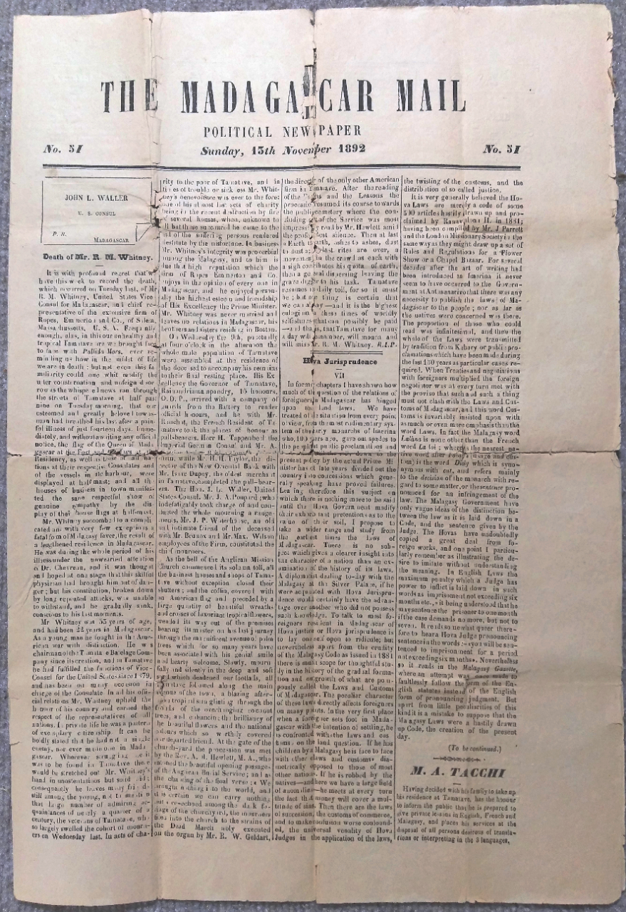 Single Issue of a Dual-Language Madagascar Newspaper dated 15 November 1892, Reporting on the Death of U.S. Vice-Consul Richard M. Whitney and Accompanied by an ALS to Whitney's Brother Giving an Account of his Death. MADAGASCAR.