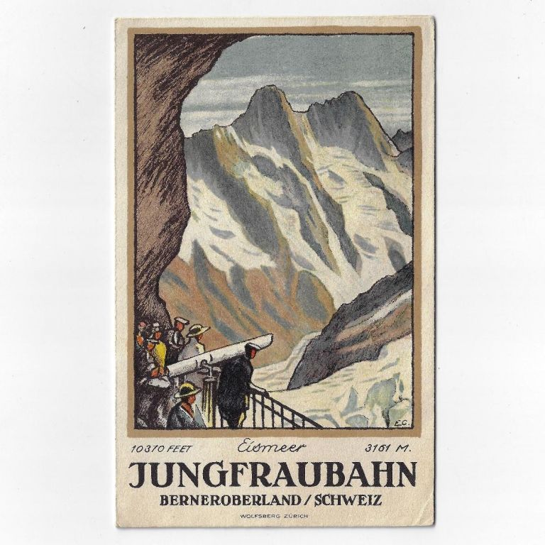 Jungfraubahn Berneroberland/Schweiz [Lithograph Swiss Travel Brochure by Noted Poster Artist]. Emil Cardinaux.