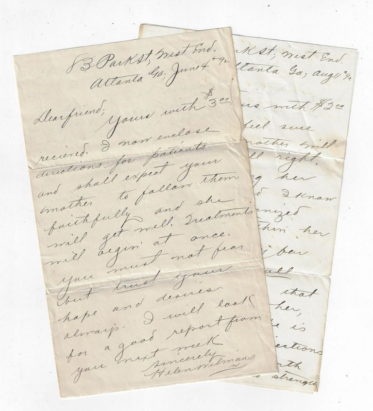 Two Autograph Letters Signed by Journalist and New Thought Writer Helen Wilmans, Who is Being Paid for Her Counsel. NEW THOUGHT, Helen Wilmans.