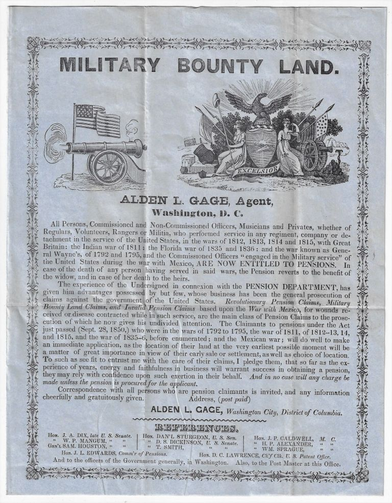 Military Bounty Land, Alden L. Gage, Agent. BOUNTY LANDS.