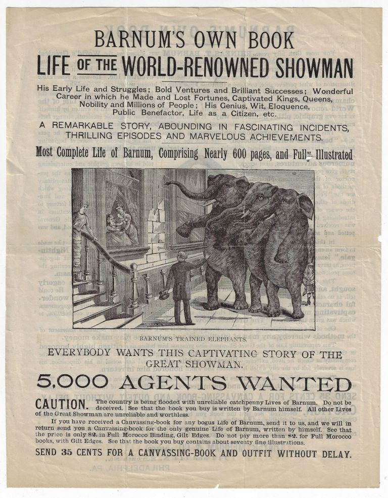 Barnum's Own Book, Life of the World-Renowned Showman. BOOK TRADE, P. T. BARNUM.