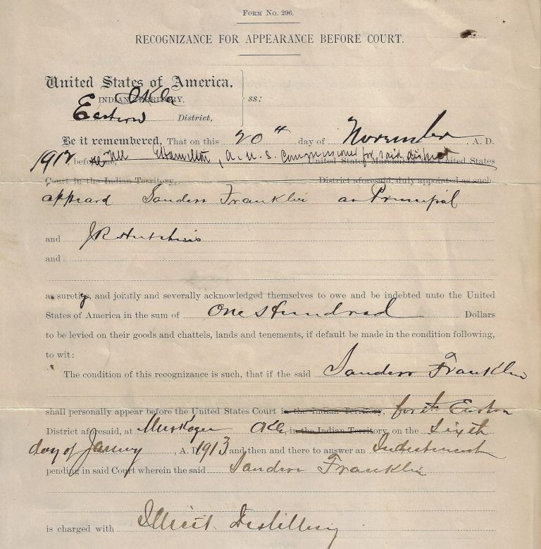 "Legal Document Regarding a ""Black Indian"" Charged with Operating an Illegal Distillery and Later Lynched by a Mob. AFRICAN AMERICANS, OKLAHOMA."