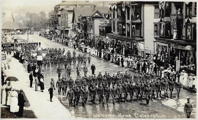 "Photo Album Showing the ""Welcome Home Celebration"" for Soldiers in Newport, Vermont, 1919. WORLD WAR I., Harry Wendell Richardson, HOMECOMING, VERMONT."