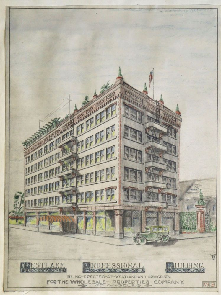 Architect's Renderings and Floor Plans for the Westlake Professional Building, Los Angeles, 1922. CALIFORNIA, ARCHITECTURE.