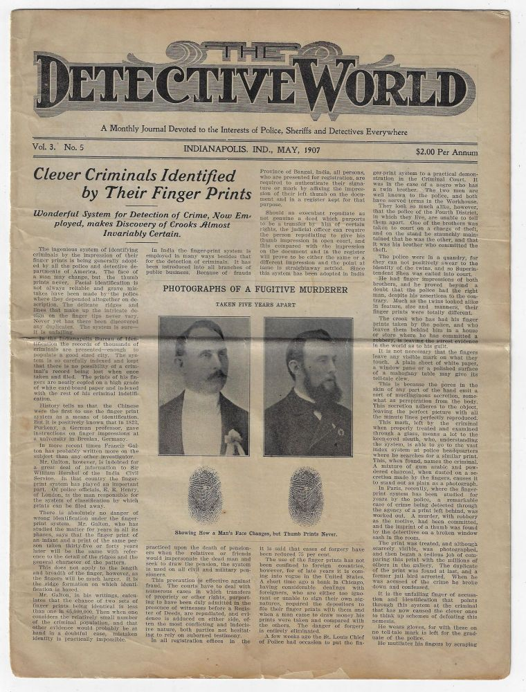 The Detective World, A Journal Devoted to the Interests of Police, Sheriffs and Detectives Everywhere, Vol. 3 No. 5, May 1907