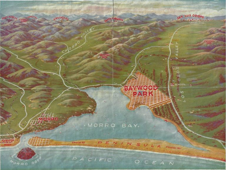 """Perspective View of Baywood Park - """"The Paradise of the Pacific"""" In the Shadow of the Mountains -- Overlooking Placid Waters -- Truly Nature's Prolific Garden Spot. Richard S. Otto."""