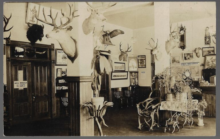 Real Photo Postcard, Early 20th Century Interior View of a Colorado Railroad Station