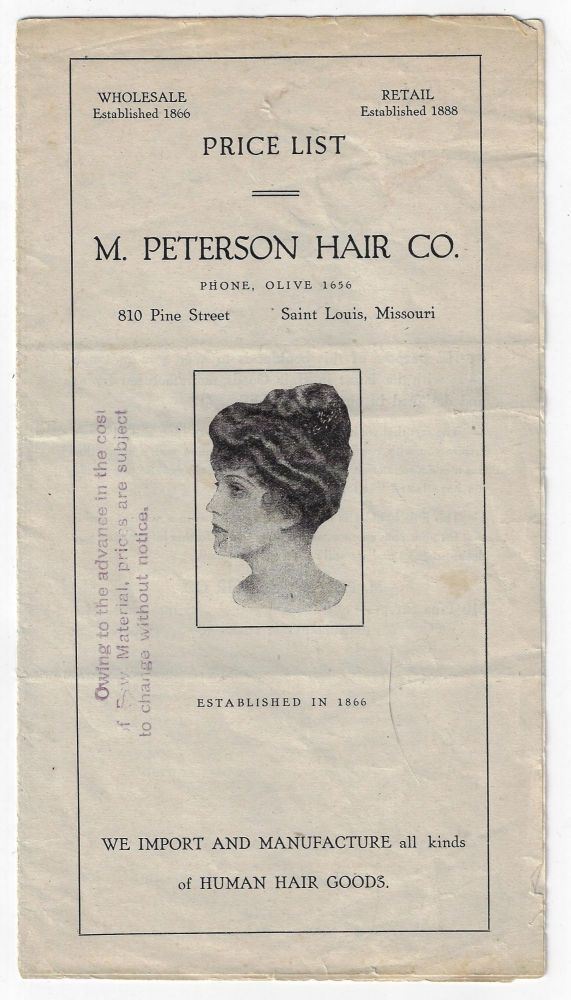 Price List, M. Peterson Hair Co. We Import and Manufacture all Kinds of Human Hair Goods