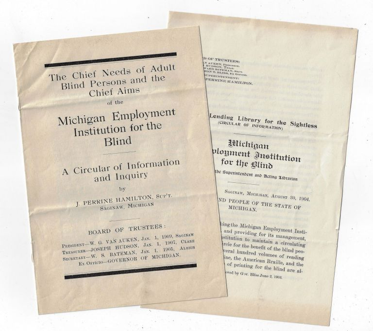 Two Circulars from the Michigan Employment Institution for the Blind (Aims of the Institution, Plan for a Lending Library