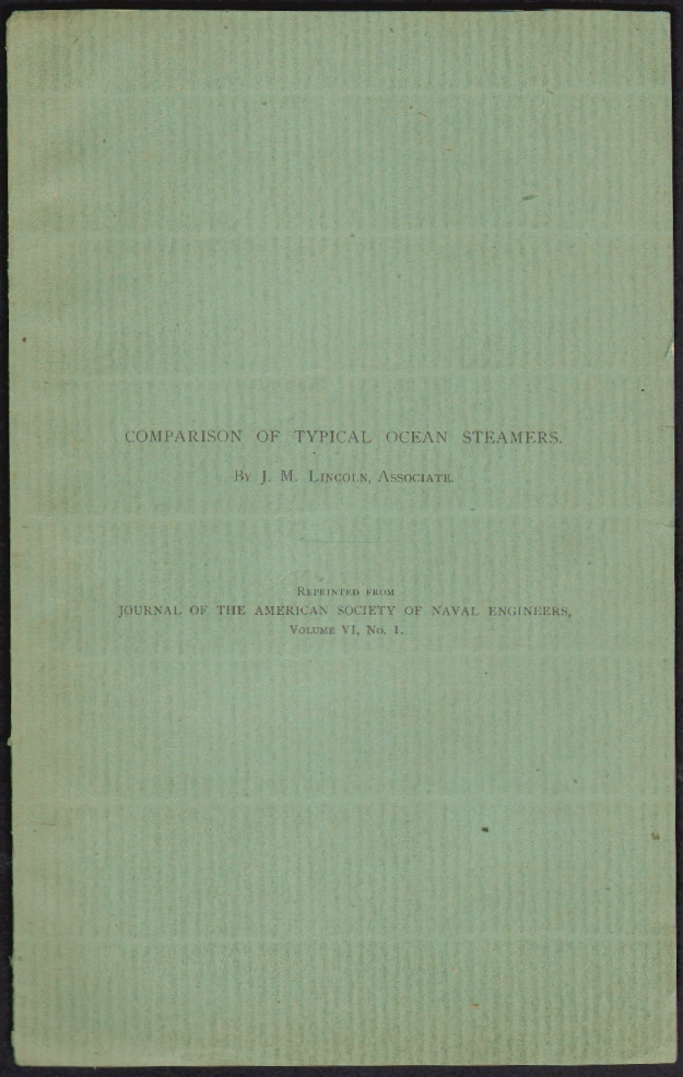 Comparison of Typical Ocean Steamers. J. M. Lincoln.