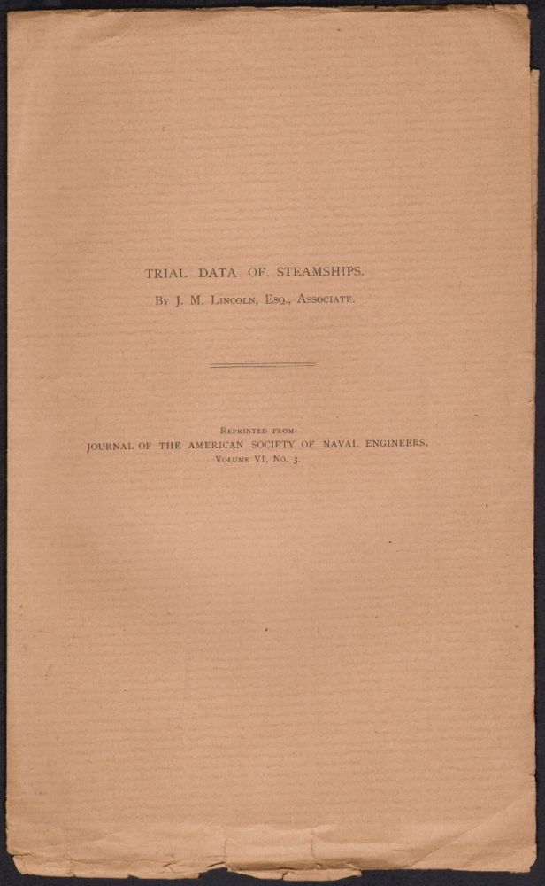 Trial Data of Steamships. J. M. Lincoln.
