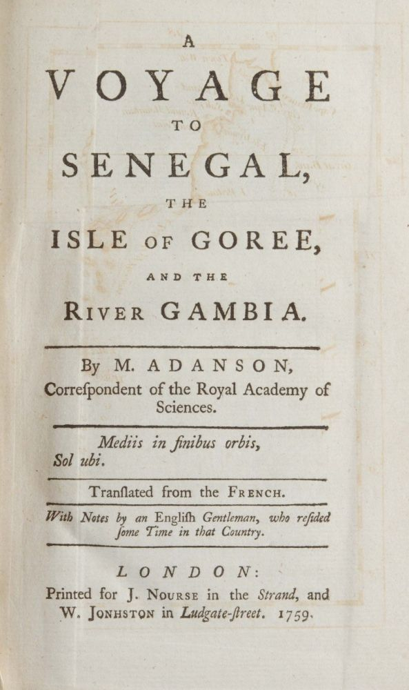 A Voyage to Senegal, the Isle of Goree, and the River Gambia. Michel Adanson.