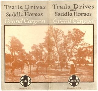 Trails, Drives and Saddle Horses, Grand Canyon. GRAND CANYON, Santa Fe Railroad
