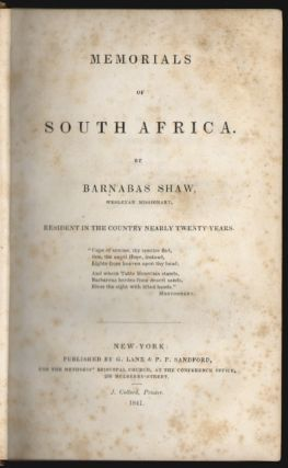 Memorials of South Africa. Barnabas Shaw