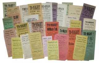 Collection of Broadside Playbills from the Paris Hill Academy in Paris, Maine, 1864-1894. THEATER MAINE.